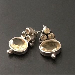 Citrine and Sterling Silver Earrings.,